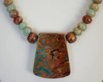 Jasper with Coper Beads Necklace and Matching Earrings.