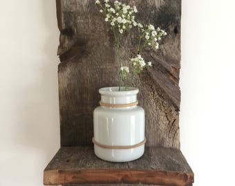 Recycled Wood & Ceramic Wall Vase