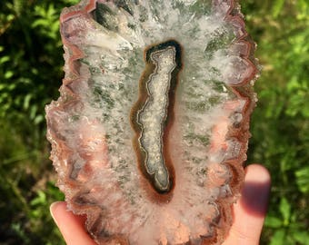 XL Clear Quartz and Rust Agate Stalactite Slice