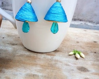Jewellery, Earrings, Drop Earrings, Thread Earrings, Handmade Earrings, Jhumka Earrings, Earrings, Blue Color Thread Earrings