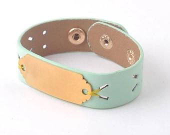 Personalized Laser Cut Leather Cuff Bracelet