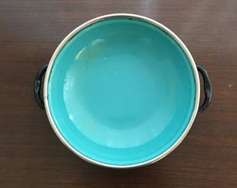 Vintage MCM Cavalier Emanel Frying Pan Turquoise 6in