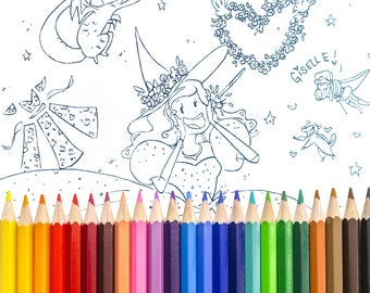 Disney Coloring Sheet Giselle From Enchanted as a Witch Featuring Prince Edward, the Chipmunk Pip, and Dragon Queen Narissa