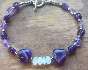 Bold Amethyst and Moonstone Bracelet w/Pendant and earrings
