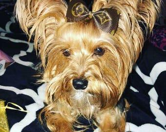 Dog or Child LV monogram hair bow