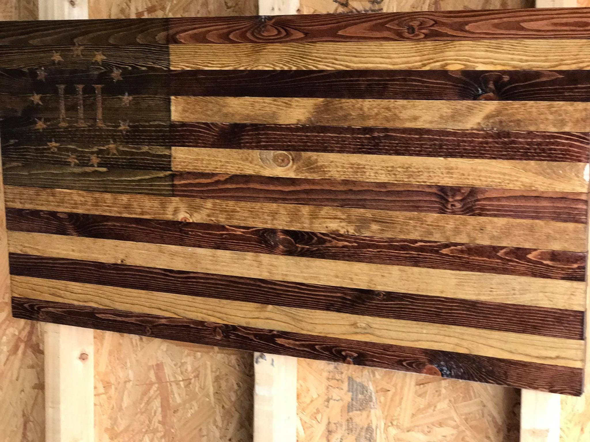 Wood American Flag Antique Style Rustic American Flag