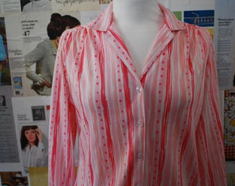 Vintage 1970s Raspberry Stripe and Spot Shirt Size 12