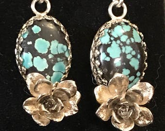 Turquoise & Nature Casted Succulent Earrings