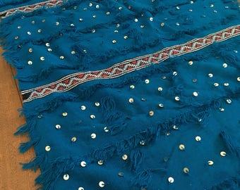 Deep blue moroccan wedding blanket