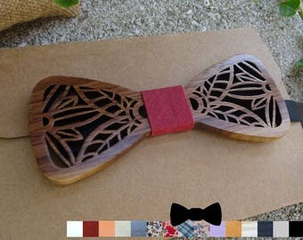 Wooden Bow Ties can be personalized with leaves, walnut wood bowtie