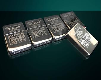 13 Engraved lighters - Custom engraved refillable lighter in box - Personalized Groomsmen gift - Laser engraved custom wedding gift set