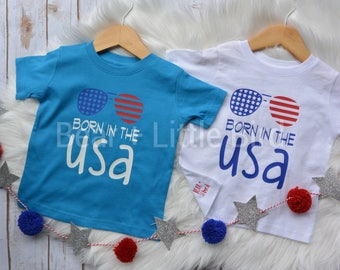 Fourth Of July Born In The USA aviator sunglasses graphic t shirt Red White and Blue Patriotic InfantToddler Kids