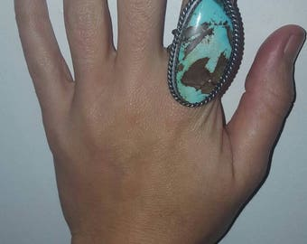 Statement Turquoise Sterling Silver 925 Ring