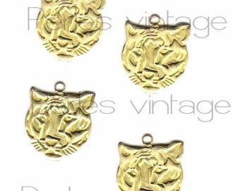 Tiger gold raw brass pendant