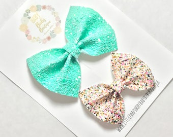 Duo Glitter Pigtail Bows/Hair Clips/Glitter Fabric/Set of 2