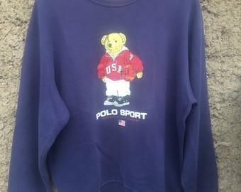 VTG Polo Bear USA Ralph Lauren Sweatshirt Sportsman P Wing Stadium