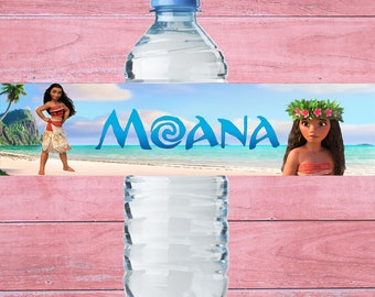 80% OFF SALE Water Bottle Label Moana Bottle Label Moana Water Bottle Label Moana Birthday Party Moana Party Supplies Moana Label