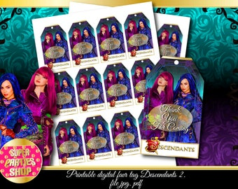 Descendants 2 Digital Printable Favor Tags, descendants 2 Custom Party,Descendant 2 Birthday, descendant Party, descendant Kit, Pack, Custom