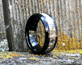 Men's Deer Antler Wedding Band Black Tungsten 8MM Comfort Fit Beveled Edge