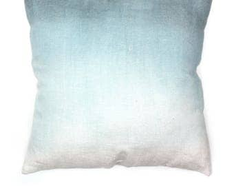 Handpainted Blue Linen Pillow Case, Ombre