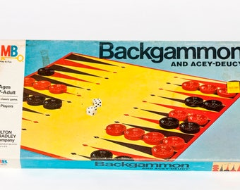 Vintage 1973 Backgammon and Acey-Deucy Board Game by Milton Bradley - Vintage Board Game - Vintage Backgammon Board Game- 1970's Board Game