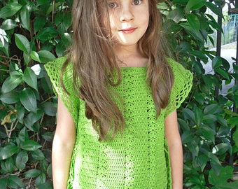 Poncho top crochet green baby girl was