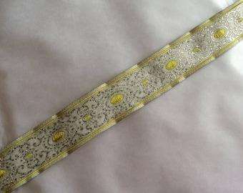 Green beige medieval Ribbon of 2.5 cm in width