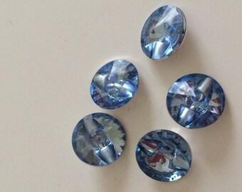 Set of 5 button 13 millimeter blue acrylic
