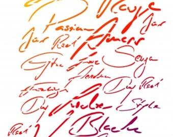 Fonts, writings, Viva Decor, stencil technique, stenciling, Stencilschablone, stencil, letters, words, fonts, wall decals