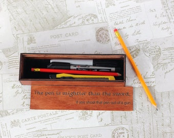 Engraved wooden pencil case, personalised wooden pencil box, back to school pencil box, add your own design