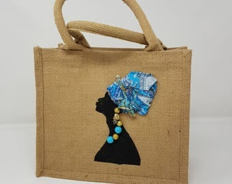 "Tote bag ""Woman with headscarf"", environmental friendly bag, shopping bag, shopper bag, tote bag, reusable bag, jute bag - Hat collection"