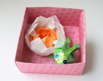 Water lily and Green Frog No. origami box 2