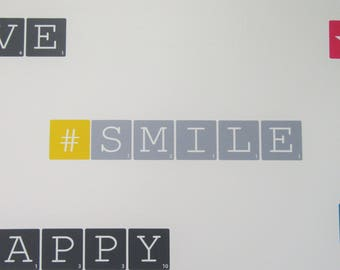 """Wall decal """"#SMILE"""" grey and yellow - Small - Scrabble letters"""
