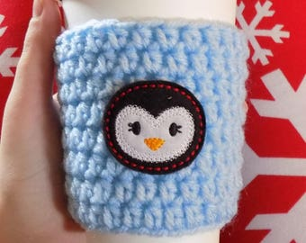Penguin Cup Sleeve, Crochet Cup Cozy, Coffee Cozy, Winter Accessories, Christmas Gift, Coffee Cup Sleeve, Coffee Accessories, Penguin Gift