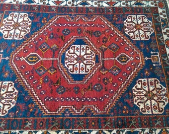 Vintage Hand-knotted Persian Afshar Ground Prayer Rug 150x118 cms (598)