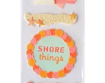 5 3D sand shells 21 cm Martha Stewart creative cardmaking scrapbooking stickers Stickers