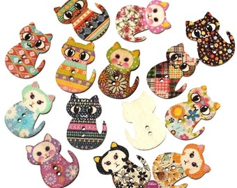 8 buttons 2 holes 3 cm wood cats kitty cats buttons