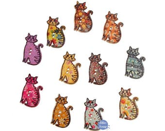 8 buttons cats cats wood buttons - 2 hole 3 cm