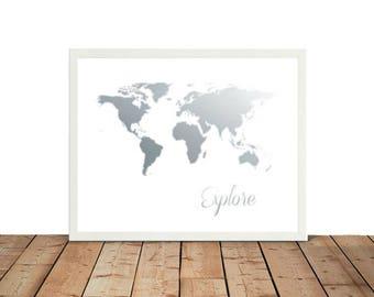 Framed world map  Etsy