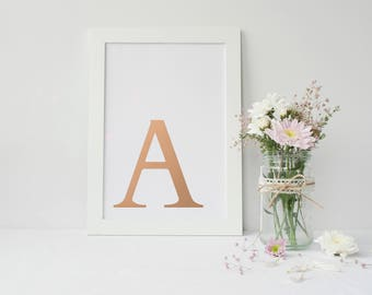 Framed Rose Gold Foiled Wall Art | Initial Wall Art Print | Wall Decor | Home Decor | Rose Gold Wall Decor | FREE UK SHIPPING |