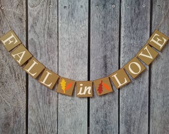 FALL IN LOVE banner, fall wedding sign, fall wedding decorations, fall wedding ideas, wedding decorations, wedding banner, wedding sign
