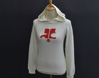 COURREGES Vintage COURREGES 21 Knitwear Long Sleeve Sweater Sweatshirt Hoodies White Size Women's 38
