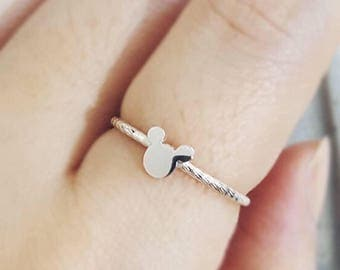 Silver Mickey Mouse Ring/ Disney jewelry/ Twisted ring/ Cute ring/ Disney Ring/ Statement Ring/ Simple Silver Ring
