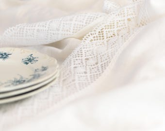 Linen and lace tablecloth, vintage inspired