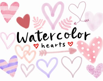 WATERCOLOR HEART CLIPART, Valentines Clipart, Heart Clipart, Cute, Valentine,  Hearts,