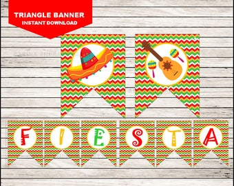 Mexican fiesta Triangle Banner instant download,  Cinco de mayo party Banner, Mexican fiesta Party Banner