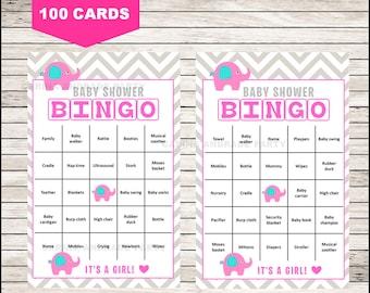 Elephant Baby Shower Bingo Cards, 100 Bingo Cards, Girl Baby Shower Game, Pink Gray Chevron, instant download