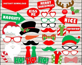 Christmas Photo Booth Props Decorations - Printable Photo Props - PDF Format - Instant Digital Download