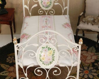 "Artisan Made Barbie, 1:6 Scale Wrought Iron Look Bed ""FLEUR"""