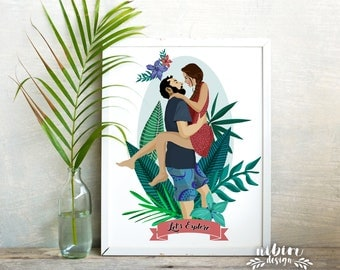 Custom Portrait, Unique Gift for Boyfriend, Couple Drawing, Gift for Girlfriend, Botanical Illustration, Lovers Gift, Custom Illustration